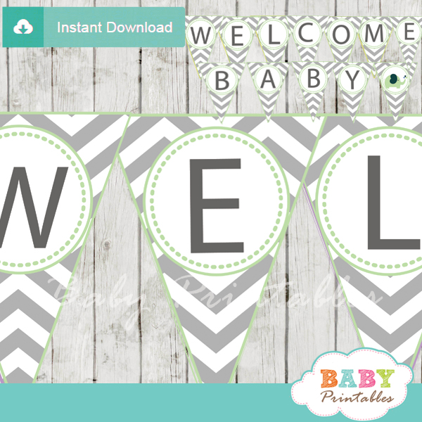 printable lime green elephant Baby Shower Pennant Banner diy