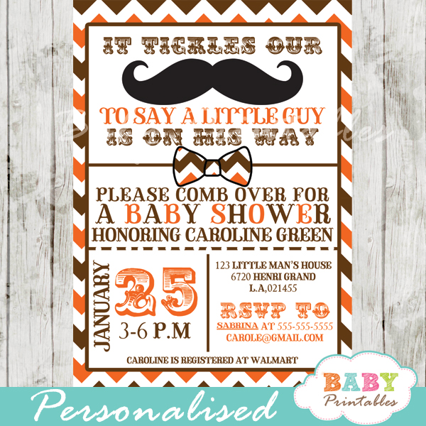 little man mustache bash baby shower invitations