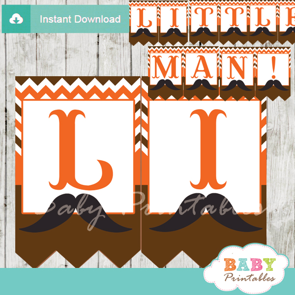 printable mustache little man banner