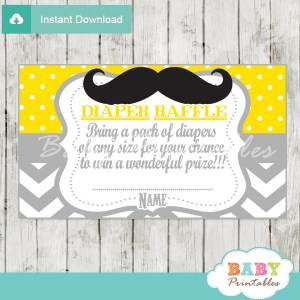 printable mustache yellow chevron diaper raffle tickets