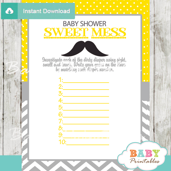 mustache Baby Shower Game What's That Sweet Mess Dirty Diaper Shower Game