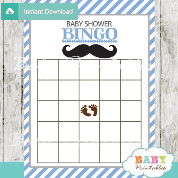 mustache bingo baby shower games printable cards