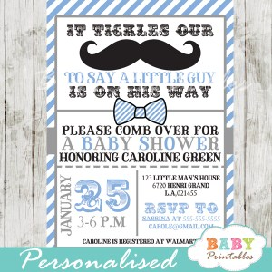 little man mustache bash baby shower invitations blue