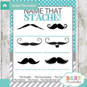 printable turquoise name that mustache baby shower game