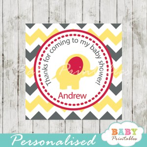 printable custom yellow elephant baby shower gift tags