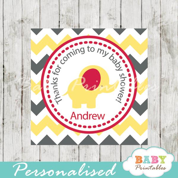 printable custom yellow elephant baby shower gift tags