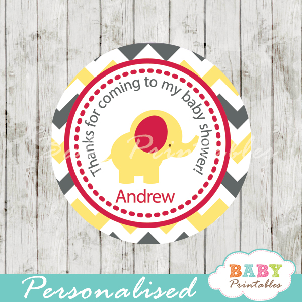 yellow red elephant baby shower labels