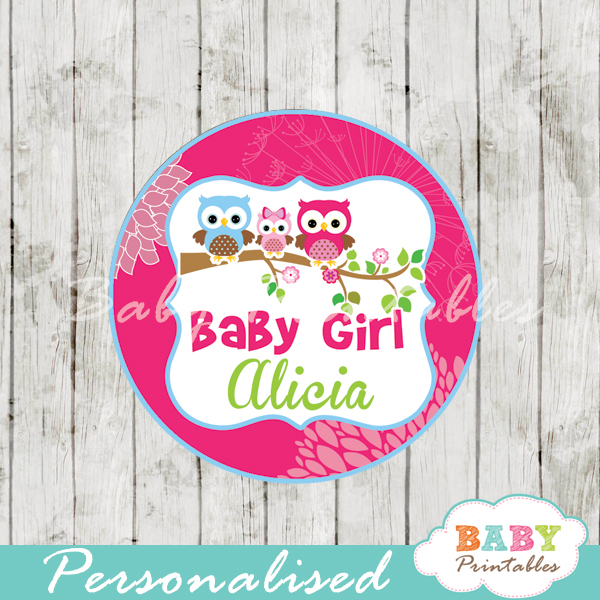 fushia printable owl family baby shower gift tags