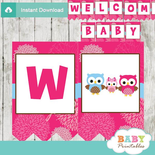 baby girl printable fushia pink owl personalized shower banner