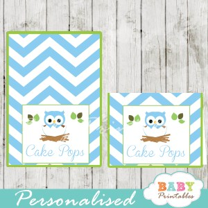 custom blue owl printable food labels for baby shower