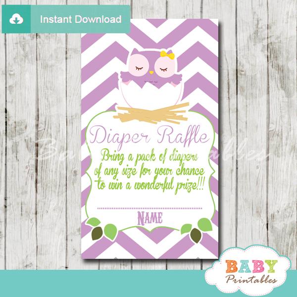 purple owl printable diaper raffle tickets