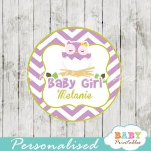 printable purple owl custom baby shower gift tags
