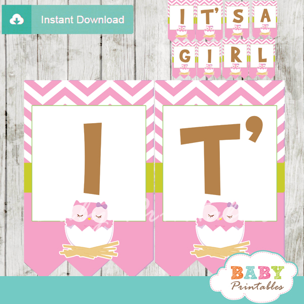 printable pink owl personalized baby shower banner