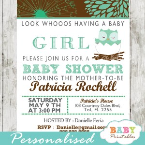 personalized tiffany blue and brown owl baby shower invitation printable