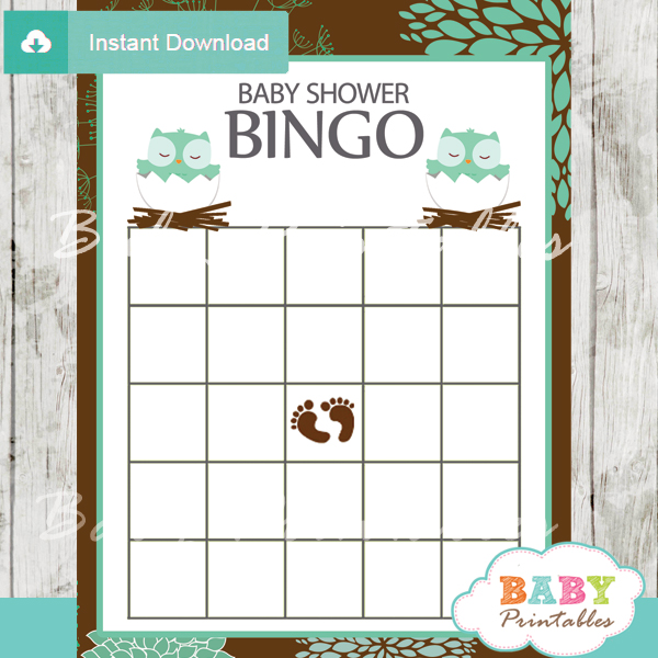 printable owl bingo baby shower games cards