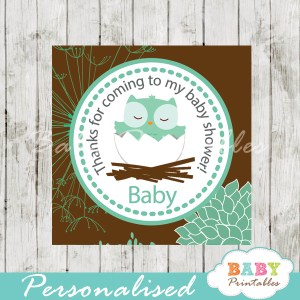 floral tiffany blue brown owl printable custom baby shower gift labels