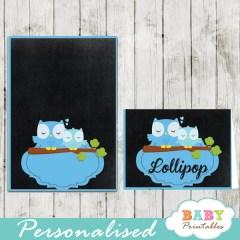blue owl chalkboard printable food label cards for baby shower