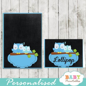 blue owl chalkboard printable food label cards for baby shower