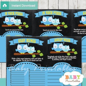 baby boy blue printable owl baby shower fun games ideas