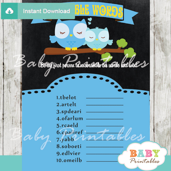 owl printable word scramble baby shower games