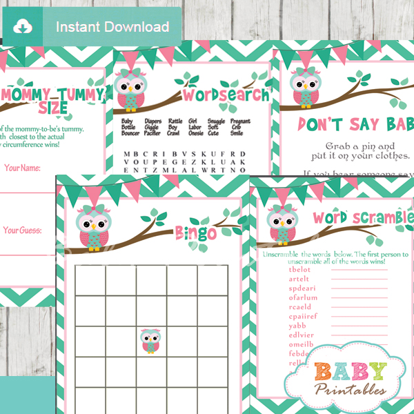 printable mint green pink owl baby shower games package