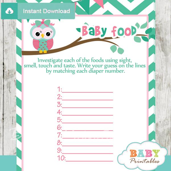 owl printable baby shower games blind tasting baby food