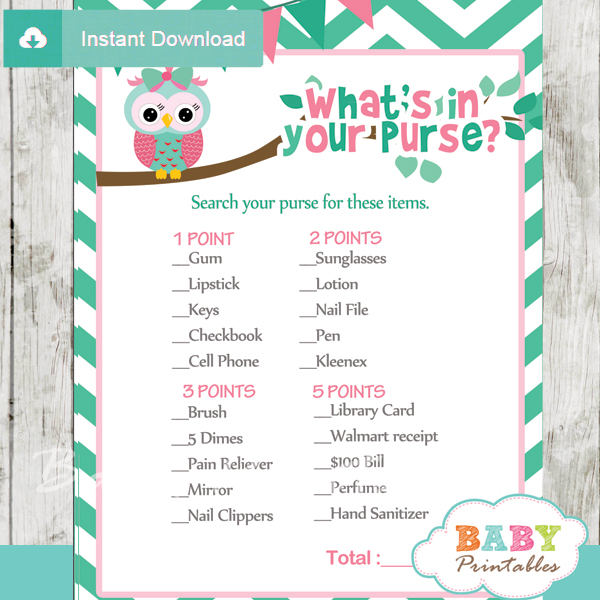owl printable baby shower games what's in your purse