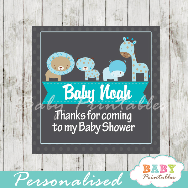 baby boy blue jungle animals printable chalkboard baby shower gift labels for favors