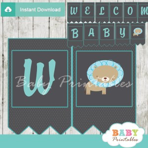 printable blue jungle safari personalized baby shower banner
