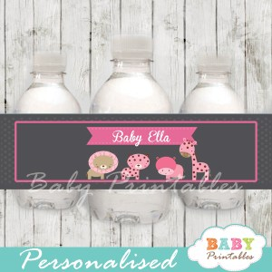pink jungle animals personalized printable Water Bottle Labels