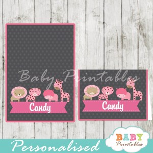 chalkboard pink jungle animals printable food label cards for baby shower