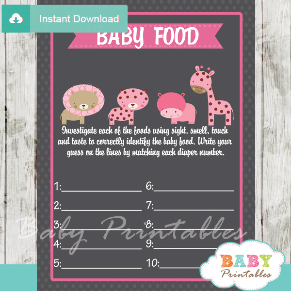 jungle safari printable baby shower games blind tasting baby food
