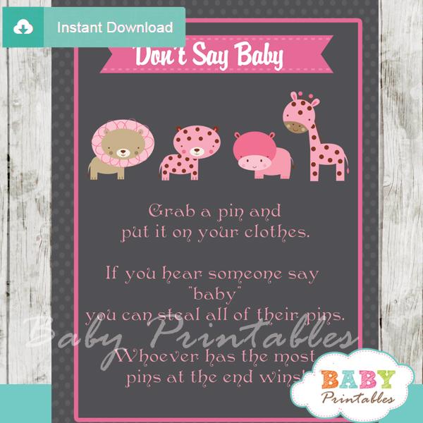 Printable safari Dont Say Baby Game pdf