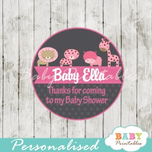 custom printable pink jungle safari baby shower gift tags