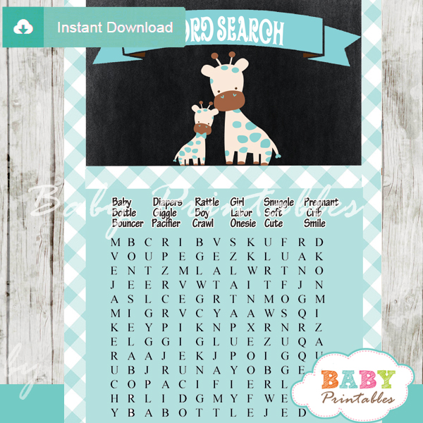 giraffe printable baby shower word search puzzles