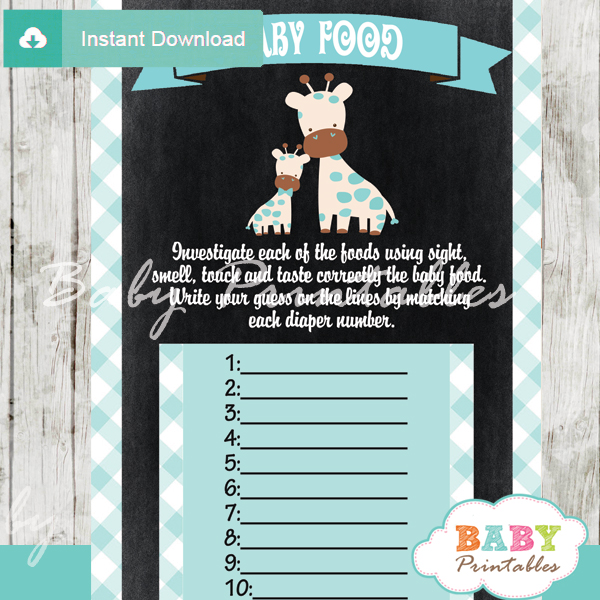 blue giraffe printable baby shower games blind tasting baby food