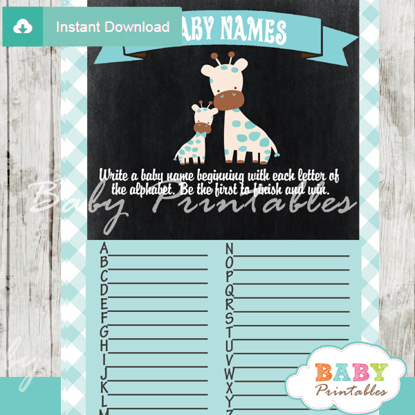 jungle giraffe printable Baby Name Race Baby Shower Game