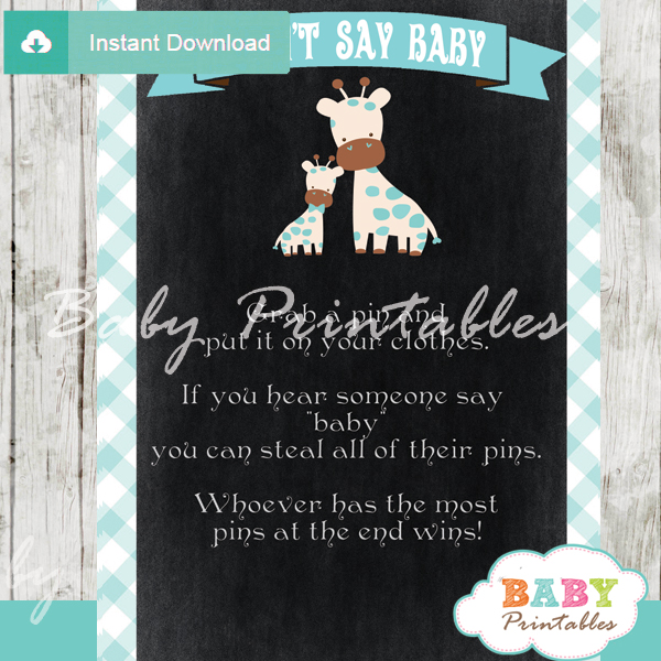 Printable safari giraffe Dont Say Baby Game pdf