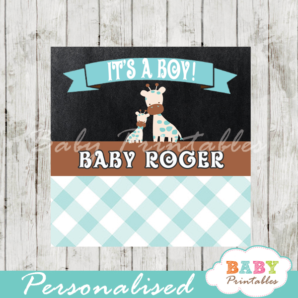 baby boy blue jungle giraffe printable chalkboard baby shower gift labels for favors