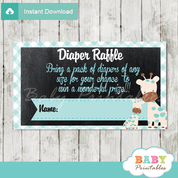printable blue giraffe diaper raffle tickets boy baby shower
