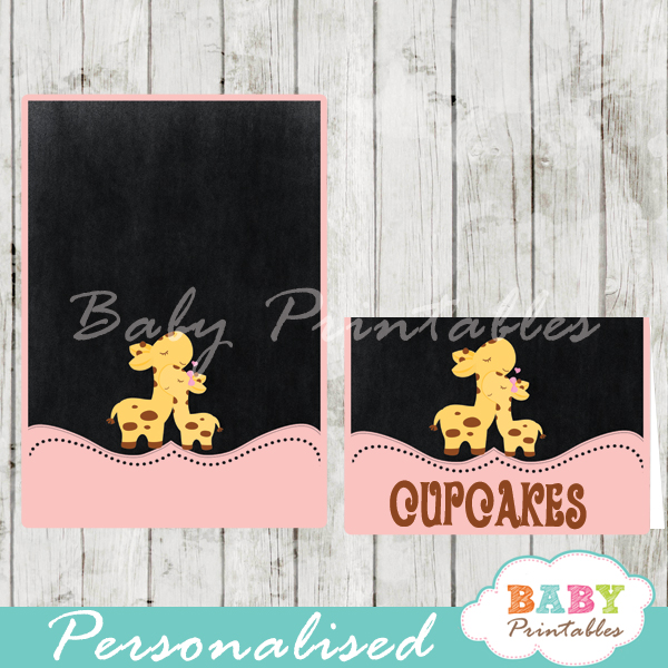 chalkboard pink giraffe printable food label cards for girl baby shower