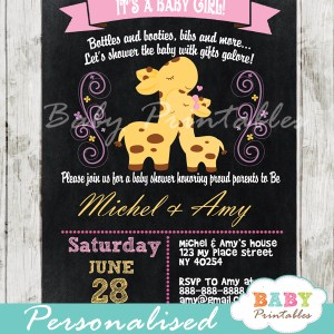 personalized baby girl pink giraffe chalkboard baby shower invitation printable
