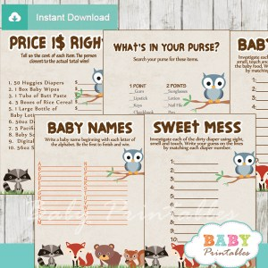 printable forest animals shower fun games ideas