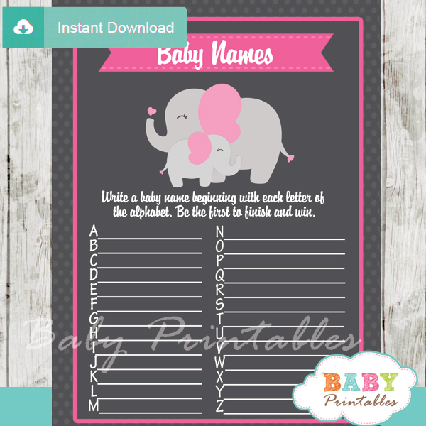 printable pink elephant Name Race Baby Shower Game