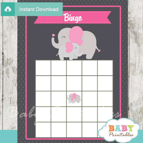 printable pink elephant girl baby shower bingo games cards