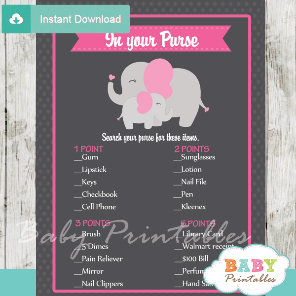 elephant themed printable baby shower games what's in your purse