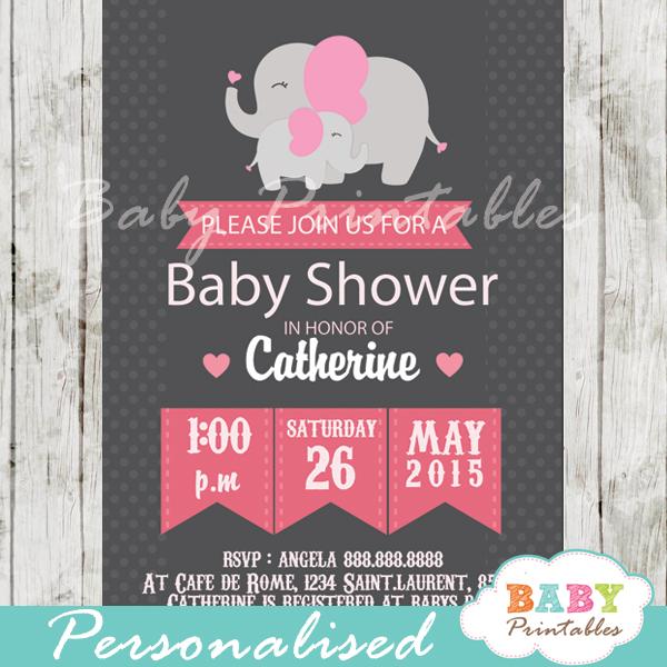 personalized chalkboard pink grey elephant girl baby shower invitation printable