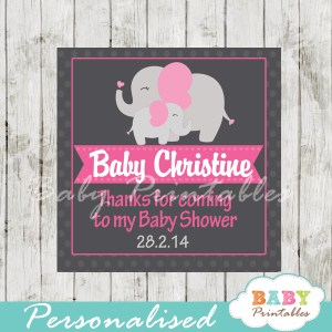 printable custom pink elephant baby shower gift labels