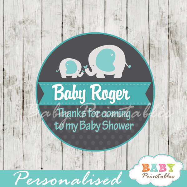 personalized blue elephant boy baby shower tags