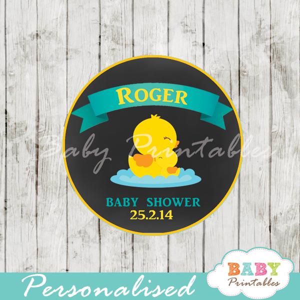 custom printable yellow duck baby shower gift tags